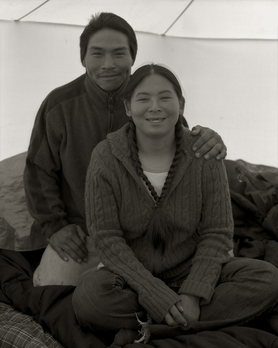 Inuit Couple at Fish Camp. Iqaluit. Canada